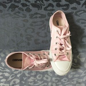 Pink satin converse sneakers